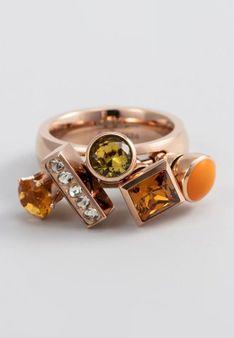 Melano Jewelry - Pierścionek - Złocenie: różowe złoto - cyrkonia - pomarańczowy