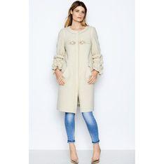 Płaszcz damski beżowy bez wzorów tkaninowy