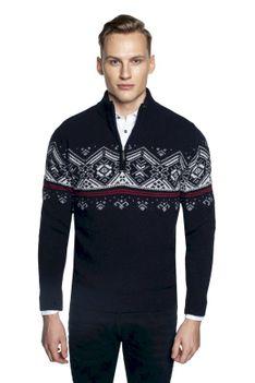 Granatowy sweter ze stójką z zamkiem Recman NORDEN