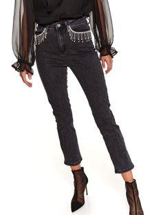 Spodnie jeansowe z aplikacją przy kieszeniach
