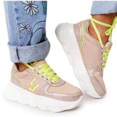 Damskie Sportowe Buty Na Platformie Lu Boo Beżowe beżowy wielokolorowe