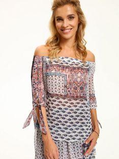Bluzka damska z odkrytymi ramionami, ze zwiewnej tkaniny w patchworkowy wzór