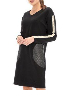 Luźna sukienka z kieszeniami i lampasami Eye For Fashion KEIRA