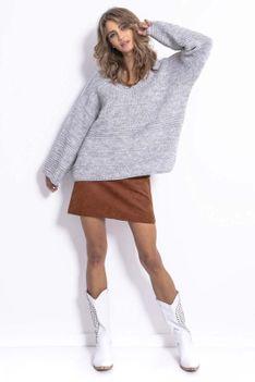 Szary Lekki Oversizowy Sweter z Rozszerzanymi Rękawami