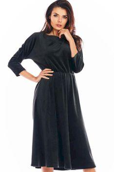 Czarna Rozkloszowana Midi Sukienka z Weluru