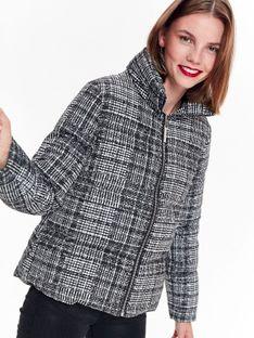 Krótka kurtka puchowa w kratę ze stójką, pikowana