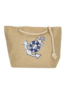 Plażowa beżowa torba z kotwicą Verde