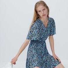 Reserved - Wzorzysta sukienka z wiskozy - Niebieski