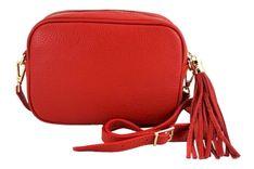 Małe torebki listonoszki ze skóry naturalnej - Czerwona jasna
