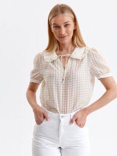 Bluzka w kratkę z krótkimi bufiastymi rękawami