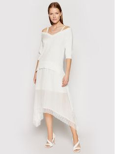 TwinSet Sukienka dzianinowa 211TT3190 Biały Regular Fit