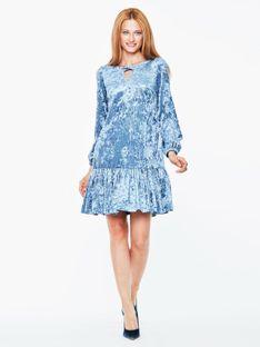 Welurowa niebieska sukienka L`AF AMANA