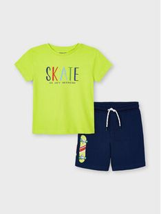 Mayoral Komplet T-Shirt i szorty sportowe 3643 Kolorowy Regular Fit