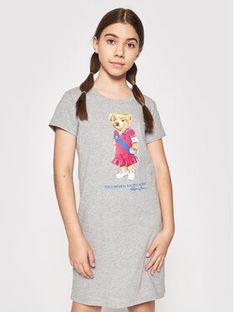 Polo Ralph Lauren Sukienka codzienna Bear 313837200002 Szary Regular Fit
