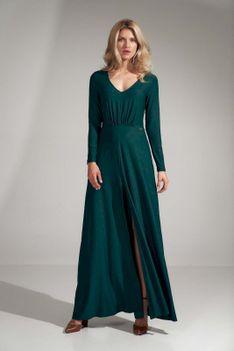 Rozkloszowana Długa Sukienka z Rozcięciem - Zielona