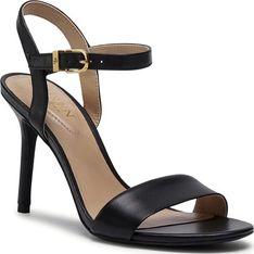 Sandały damskie Ralph Lauren ze skóry ekologicznej eleganckie na wysokim obcasie z klamrą