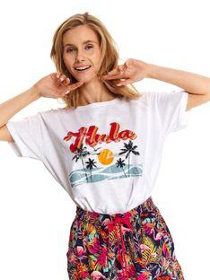 Luźny t-shirt z hawajskim nadrukiem