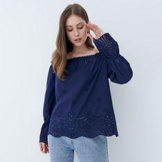 Mohito - Ażurowa bluzka off shoulder - Niebieski