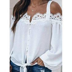 Bluzka damska biała Sandbella w serek z bawełny