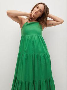 Mango Sukienka letnia Cotton 17070185 Zielony Relaxed Fit