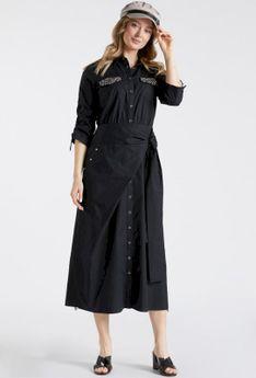 Casualowa sukienka maxi z wiązaniem