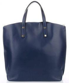 Torebka Skórzana Shopperbag z Kosmetyczką Granat (kolory)