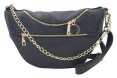 Pojemna torebka nerka z łańcuszkiem - Czarna
