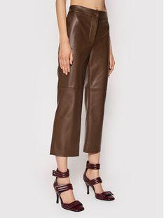 Liviana Conti Spodnie z imitacji skóry F1WT29 Brązowy Regular Fit