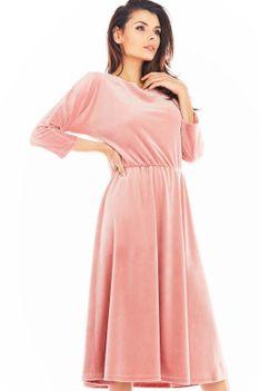 Różowa Rozkloszowana Midi Sukienka z Weluru