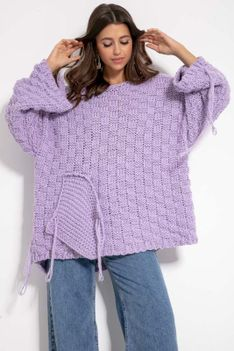 Sweter Oversize z Naszytą Kieszenią i Frędzlami - Fioletowy