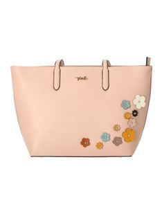 Różowa torebka shoperka z 3D kwiatami Verde 16-0004748