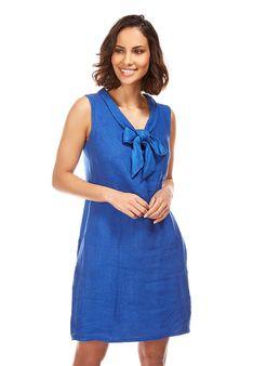 Le Monde du Lin - Sukienka letnia - błękit królewski
