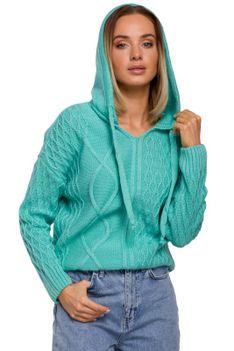 Nierozpinany Sweter z Kapturem - Seledynowy