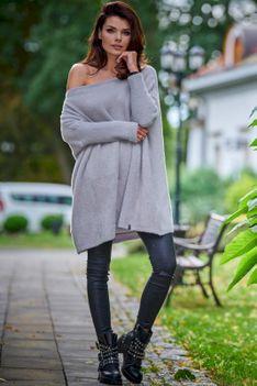 Swetrowa Sukienka Oversize - Szary