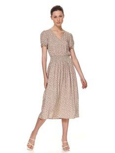 Sukienka midi w grochy, z gumą w pasie