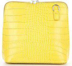 Eleganckie Torebki Skórzane Włoskie Listonoszki w motyw aligatora S size marki Vittoria Gotti Żółta (kolory)