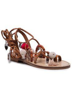 TwinSet Sandały Sandalo 211TCT180 Brązowy