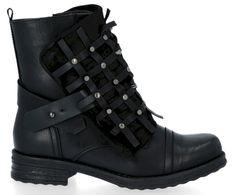 Czarne stylowe botki na płaskim obcasie ivette (kolory)