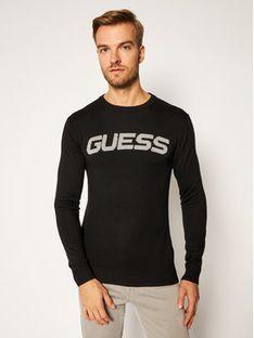 Guess Sweter Front Logo M0BR53 Z2PL0 Czarny Slim Fit