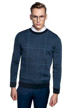 Sweter niebieski w kratę z wełną Recman GRILLONS