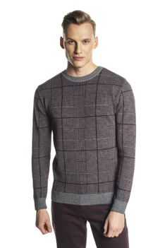 Sweter bordowy w kratę z wełną Recman GRILLONS