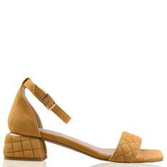 Lizard shoes - Żółte zamszowe sandały na