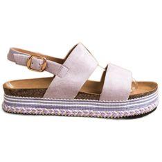 Ideal Shoes Zamszowe Sandały Na Platformie fioletowe