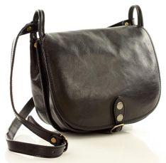 Duża torebka włoska na długim pasku MAZZINI - Toscania Classico czarna