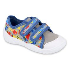 Befado obuwie dziecięce  907P128 niebieskie szare wielokolorowe