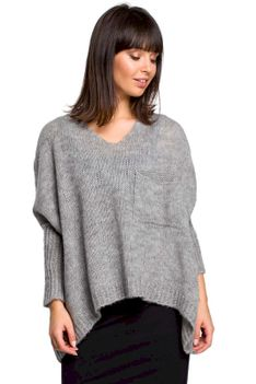 Szary Asymetryczny Oversizowy Sweter z Kieszonką