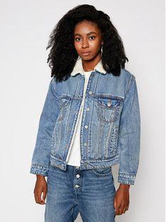 Superdry Kurtka jeansowa Boyfriend Sherpa W5010249A Niebieski Regular Fit