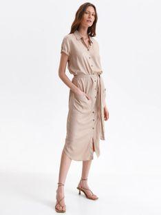 Koszulowa sukienka midi z wiązaniem