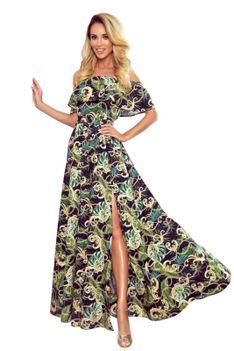 Maxi Sukienka z Hiszpańskim Dekoltem w Zielone Liście
