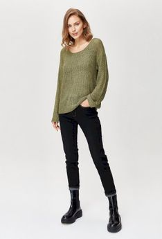 Sweter o szydełkowym splocie